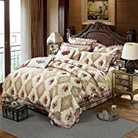 木茶 全棉斜纹家居床盖双人床床上用品四件套 夹棉加厚提花天锦绸纯棉四件套 温雅花都-粉 2.0m床(被套220*240)