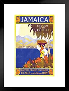 Poster Foundry Jamaica The Tropics 复古旅行艺术印刷品 ProFrames Multi-color / 10162 Framed Matted in Black Wood 20x26 inch 261446