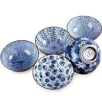 【古雅精美文艺格调】 美浓烧日本进口陶瓷碗家用日式和风餐具饭碗面碗青花瓷碗套装礼品 釉下彩工艺 文艺和风格调礼盒 (古染5.5寸5件装)