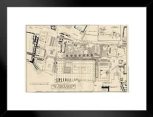 海报 Foundry Plan 罗马论坛 1883 年历史插图 艺术打印 艺术打印 哑光框架海报 26x20 inches 284613