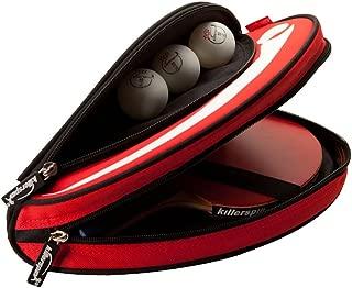 Killerspin Barracuda Ping Pong Paddle 手提包 √ 带衬垫乒乓球拍罩 √ 加厚聚酯袋 适用于 2 个 Ping Pong 货架,侧面配件袋用于球 – 保护拉链外壳