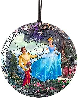 "Thomas Kinkade 迪士尼星火印花玻璃圣诞树装饰挂饰 Cinderella Stained Glass 3.5"" Diameter SPCIR729"