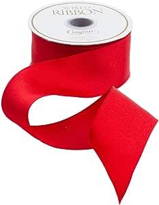 Caspari Solid Wired Ribbon, Red