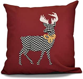 E by Design Jump For Joy Merry Deer 户外枕头 红色 16L x 16W in. O5PHAN687RE6-16