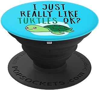 I Just Really Like Turtles Ok On 蓝色可爱卡哇伊海龟 PopSockets 手机和平板电脑握架260027  黑色