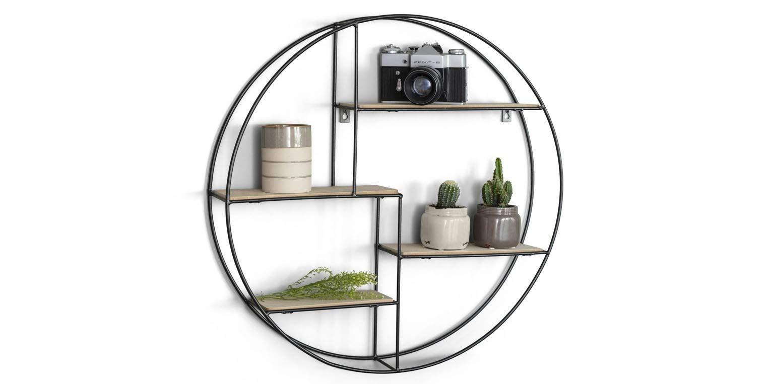 LIFA LIVING 圆形壁架现代黑色金属和木材或金属,工业设计的香料架,厨房架,4层,墙面装饰,直径55厘米 x 11厘米 Metall und Holz 1 Pack 8718226907264