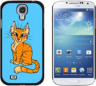 Graphics and More Snap-On Hard Protective Case for Samsung Galaxy S4 - Tabby Cat Orange Blue - Pet - Non-Retail Packaging - Black