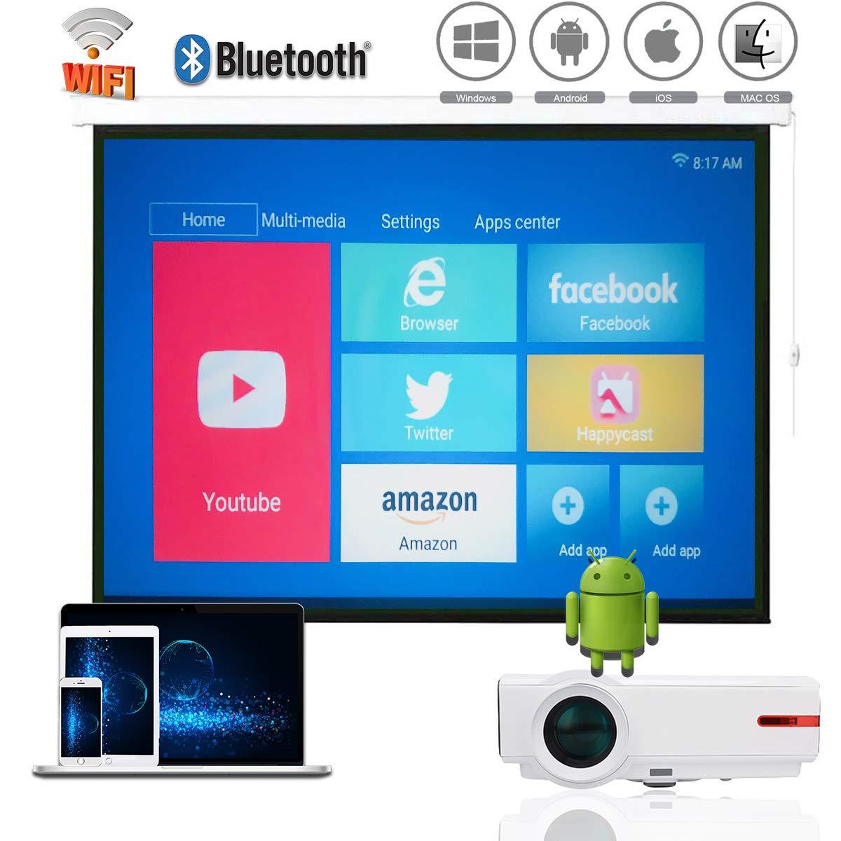 1080pビデオプロジェクターローカル無線LAN、Bluetooth無線アンドリュースプロジェクターLED、1G RAM + 8 G ROM、適し4K *大きい解像度、サポートエアプレイMiracast DLNA、 iPhoneアプリのAndroidの携帯電話のタブレットPC PS3 / PS4のXbox