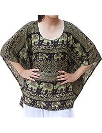 raan PAH muang raanpahmuang 浅粘胶纤维人造丝大象图案衬衫飘逸面