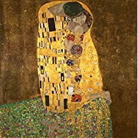 Wieco Art - Gustav Klimt 创作的《小姐》复制品帆布印刷品,现代帆布墙画艺术,适合墙壁装饰和家居装饰,拉伸和镶框艺术,帆布印刷,随时悬挂 81.28 x 81.28 cm 金色 24x24inch (60x60cm) KLIMT-DS0019