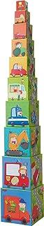 HABA 301524 – 堆叠骰子飞利兹塔 堆叠 10 个骰子骰子 建筑砖 带彩色汽车主题图案 玩具从 12 个月起