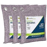 Green Breathe 竹炭空气净化袋(3件装)活性炭气味吸收剂 天然空气清新剂 去除异味和* 居家用 宠物 汽车 衣柜 地下室 RV