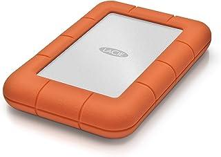 LaCie Rugged Mini 1TB 外置硬盘便携式硬盘 – USB 3.0 USB 2.0兼容, 防震防尘防雨驱动器, 适用于Mac和PC电脑Workstation PC笔记本电脑 (LAC301558)