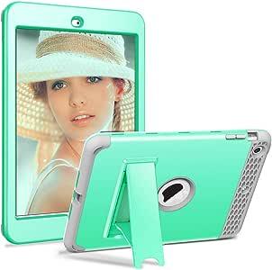 iPad Mini 2 保护套,iPad Mini 3 保护套,Hocase 重型保护硬质塑料保护套+减震硅胶橡胶双层保护套适用于 iPad Mini 1/2/3 w/ 7.9 英寸显示器 蓝*