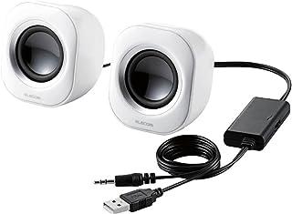Elecom宜丽客 扬声器 USB供电 4W 紧凑型 白色 MS-P08UWH
