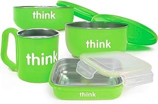 美国进口-Thinkbaby 辛克宝贝 不锈钢儿童餐具4件套(饭盒、汤碗、餐碗、水杯) 喂养套装-绿色