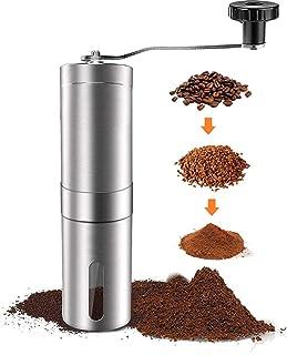 SFXFJ 手动咖啡研磨机 可调节设置 陶瓷毛刺咖啡研磨机 便携式拉丝不锈钢毛刺咖啡研磨机 适用于航空、滴滤咖啡、浓缩咖啡、法式压榨咖啡、土耳其酿造。