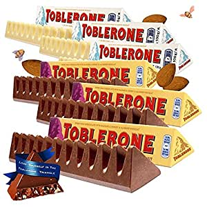 Toblerone瑞士三角 瑞士进口巧克力100g*6条组合装 (白巧100g*3+葡萄干巧克力100g*3)