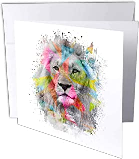 Carsten Reisinger - 插图 - Majestic 男士狮子肖像带彩色多边形 - 贺卡 Set of 6 Greeting Cards