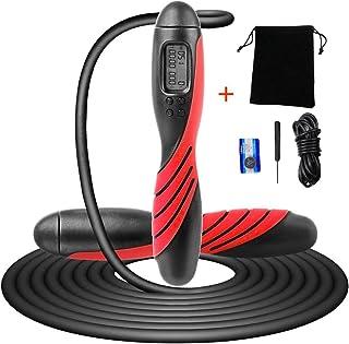 Saim 跳绳带计数器,数字重量卡路里时间设置,跳绳带计数器适用于室内和室外,可调节跳绳健身*,运动*燃烧