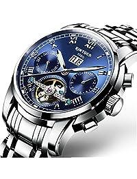 瑞士男式不锈钢蓝色水旋涡自动机械手表