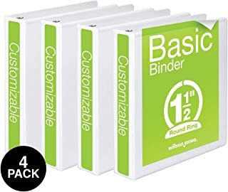 Wilson Jones 1-1/2 英寸 3 环活页夹,基本圆形环形活页夹,白色,4 件装 (W70362-34WPP)