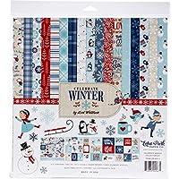 Echo Park Paper Company CW162016 慶祝冬季收集紙,紅色、藍色、*藍、*、白色