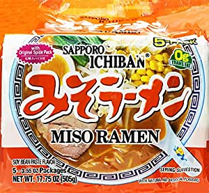Sapporo Ichiban Miso Ramen with Original Spice Pack, 17.5 Ounce (Pack of 6)
