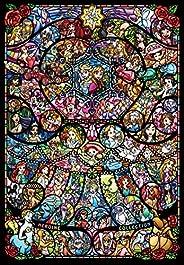 1000ピース ジグソーパズル ディズニー&ディズニー ピクサー ヒロインコレクション ステンドグラス【ピュアホワイト】(51x73.