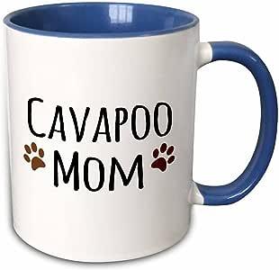 3dRose InspirationzStore 宠物设计 - Cavapoo Dog Mom - Doggie by breed - 棕色泥泞爪印爱 - 狗狗爱好者 - 骄傲的妈妈宠物主人 - 马克杯 蓝色/白色 11-oz Two-Tone Blue Mug mug_154094_6