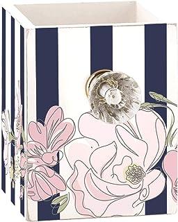 花蓝色和白色条纹宝石旋钮笔和笔筒书桌收纳盒,8.26 cm