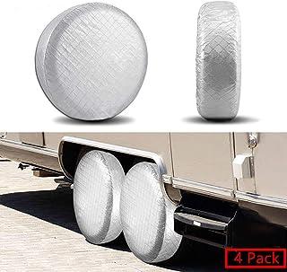 YBB 4 件套适用于 RV 车轮和轮胎套,适合露营者,旅行拖车轮胎套,适合48.26cm 至 55.88cm 轮胎直径,防水,太阳轮胎保护器 40-42 英寸 UScovertire-40-42 inches