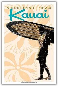 太平洋岛艺术 - 夏威夷考伊的问候 - 夏威夷冲浪者 - 复古旅行海报 Wade Koniakowsky - 大师艺术印刷品 12 x 18 in PRTBWK049
