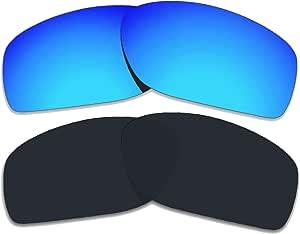 COLOR STAY LENSES 2.0mm 厚度偏光替换镜片适用于 Oakley 导体 8 OO4107 钛镜面涂层 黑色和蓝色 CSL-21409