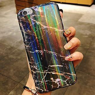 iPhone 6S Plus/6 Plus大理石手机壳,女孩女士闪耀激光极光渐变色大理石设计灵活软橡胶凝胶 TPU 保护套,适用于 iPhone 6S Plus 硅胶手机壳,黑色