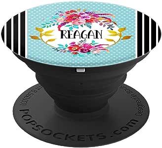 Reagan 名字交织字母花卉图案艺术女式女孩礼物 - PopSockets 手机和平板电脑握架260027  黑色