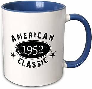 3drose inspirationzstore Typography–1952美国经典–个性化出生年份生日礼品–黑色摇滚风格复古–有趣–马克杯 蓝/白 11 oz