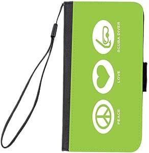Rikki Knight 三星 Galaxy S6 手机壳 - 黑色RK-FlipS6Galaxy42678 Peace Love Scuba Diver Lime Green Color Design 黑色