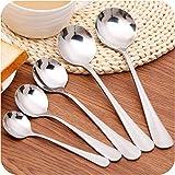 Moonyland 加厚不锈钢勺子西餐牛排刀叉汤匙儿童餐具小勺子汤勺手感舒适 隔热防烫 安全卫生 经久耐用 (5个圆勺)