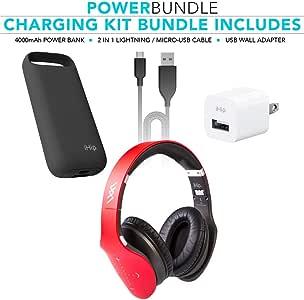 iHip Side Swipe Touch Control 无线蓝牙耳机头戴式耳机 - 可折叠,软* - 蛋白质耳罩,带内置麦克风和有线模式,适用于电脑/手机/电视 Touch Only + Charger Kit 红色