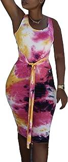 PRIMODA 女式紧身扎染背心中长款连衣裙低圆领系腰俱乐部连衣裙