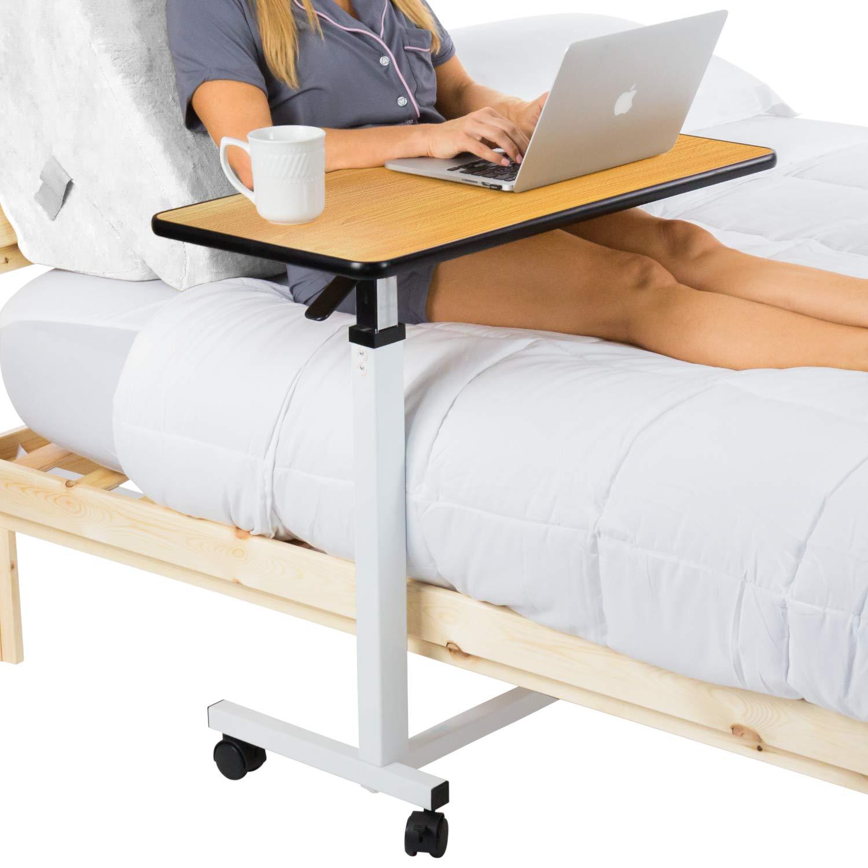 Vive Overbed Table - 旋转轮滚轮托盘桌 - 可调节床边桌,适用于家庭、* - 过床笔记本电脑、阅读、进食早餐 - 低高推车 - 床、老年人、老年人、老年人*