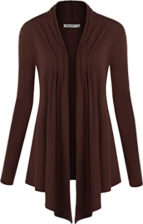 Lock and Love LL Womens Long Sleeve Draped Open Front Cardigan Wsk850_brown Large
