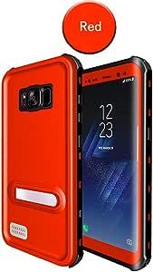 三星 Galaxy S8 防水手机壳,水下 IP68 认证保护套防震/防雪/防尘,适合潜水游泳户外运动 Samsung Galaxy S8 红色