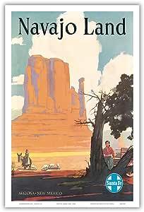 "Pacifica Island Art Navajo Land - 亚利桑那州,新墨西哥州 - 圣菲铁路 - 纳瓦霍国家,蒙特雷谷 - Elms 复古世界旅游海报 c.1954 - 艺术大师印刷 12"" x 18"" PRTB3139"