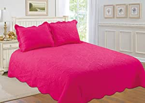 Fashion Brands Group 3 件套双面床罩/被单/被子套装-带拼接 桃红色 King