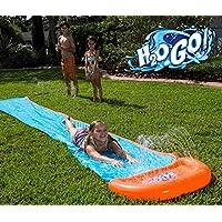 H2OGO 单道水滑梯适用于后院草坪大滑梯 18 英尺(约 4.7 米)带泳池和一个冲浪骑手花园水滑梯,适合儿童和成人活动或夏季派对