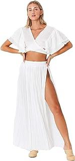 Jen Pirates 提臀风格 - 圣玛利亚长裙 | 象牙色罩衫 | 波西米亚沙滩裹身裙 | 轻盈飘逸优雅 | * 人造丝适合女士。
