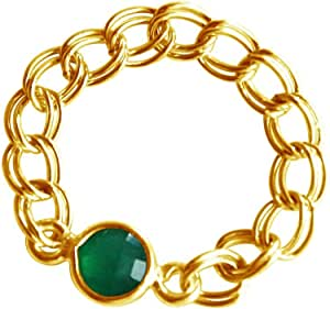 Gemshine 女士戒指 镀金 圆形玉石 '- 戒指尺寸 54 帐户 6