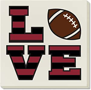 Counter Art Love Football Absorbent Coasters, Garnet/Black, Set of 4